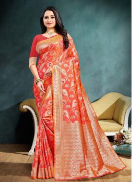 Banarasi Silk Weaving Traditional Saree in Peach