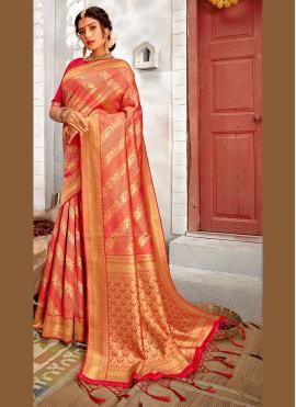 Banarasi Silk Weaving Traditional Saree in Rose Pink