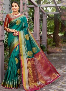 Banarasi Silk Weaving Trendy Saree in Sea Green