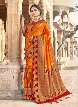 Banarasi Silk Woven Classic Designer Saree in Orange