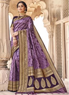 Banarasi Silk Woven Purple Classic Designer Saree