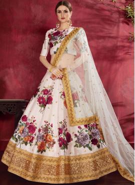 Banglori Silk Embroidered Off White Lehenga Choli
