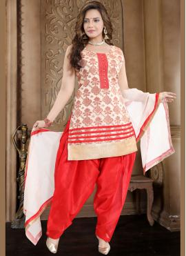 Banglori Silk Readymade Suit in Red