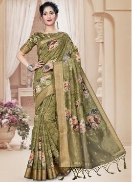 Baronial Digital Print Green Printed Saree