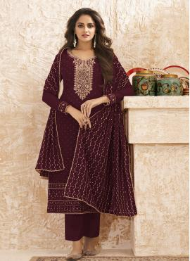 Baronial Embroidered Designer Straight Salwar Suit