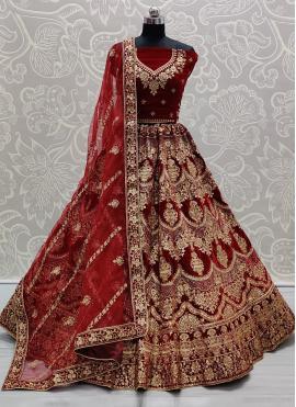 Baronial Embroidered Velvet Red Trendy Lehenga Choli
