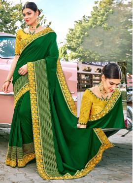 Baronial Fancy Fabric Green Classic Designer Saree