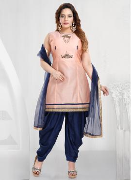 Baronial Handwork Peach Designer Patiala Suit