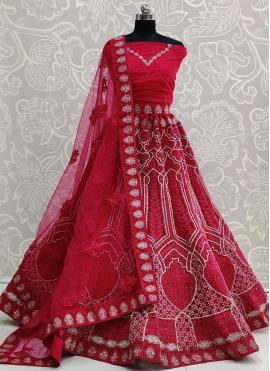 Baronial Net Embroidered Hot Pink Lehenga Choli