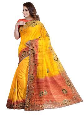 Beauteous Handwork Yellow Kanjivaram Silk Designer Saree