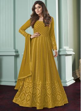 Beauteous Mustard Zari Salwar Kameez