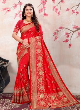 Beauteous Red Silk Classic Saree