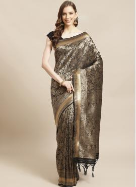 Beautiful Black Weaving Traditional Designer Saree