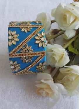 Beautiful Blue Colour Resham Thread Bangle