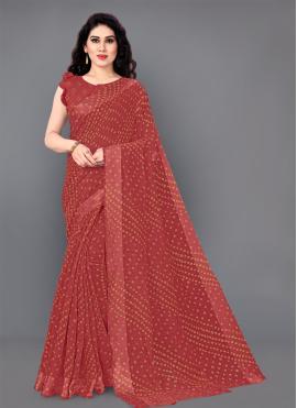 Beautiful Cotton Red Classic Saree