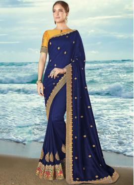 Beautiful Embroidered Navy Blue Designer Saree