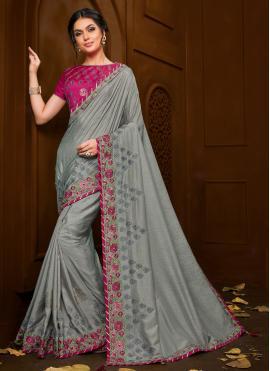 Beautiful Poly Silk Grey Trendy Saree