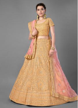 Beautiful Yellow Art Silk Bollywood Lehenga Choli