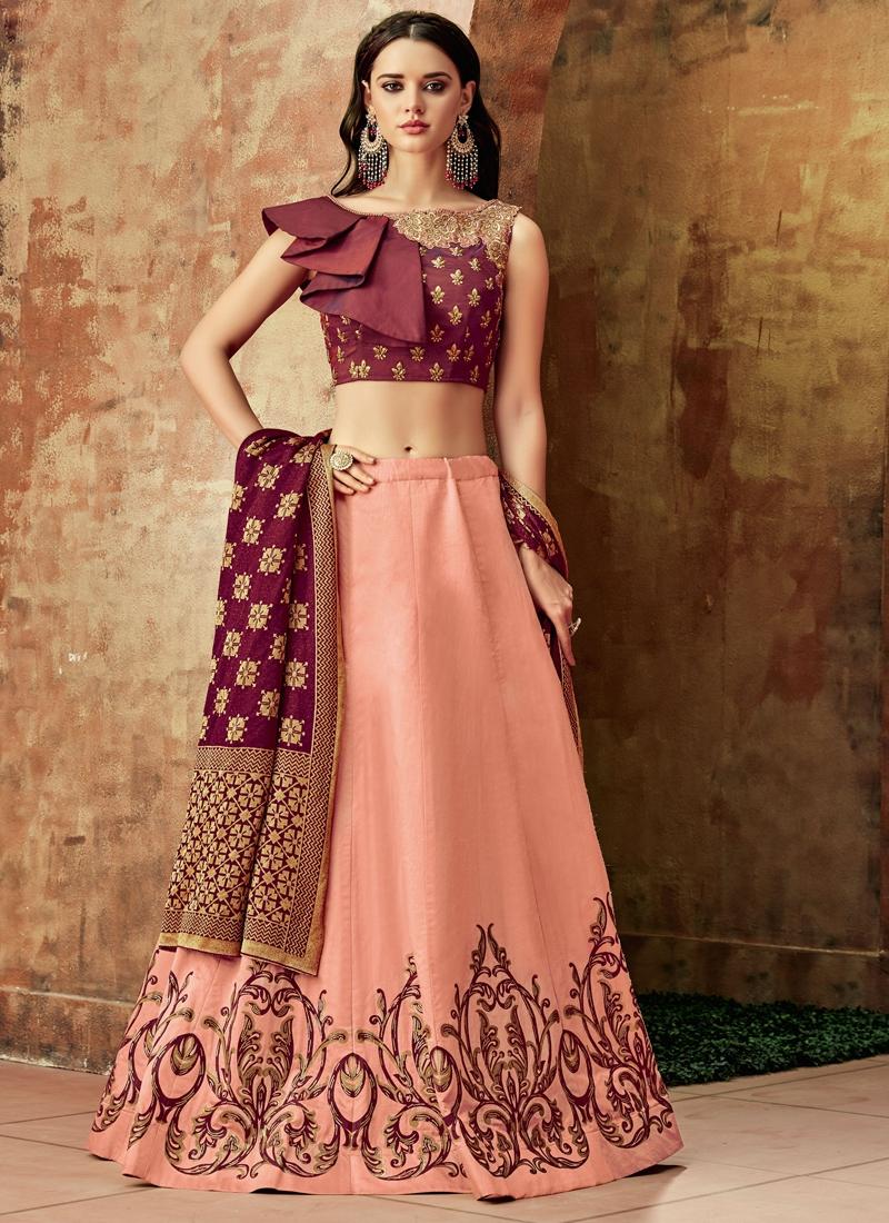 Beckoning Embroidered Art Silk Pink Lehenga Choli