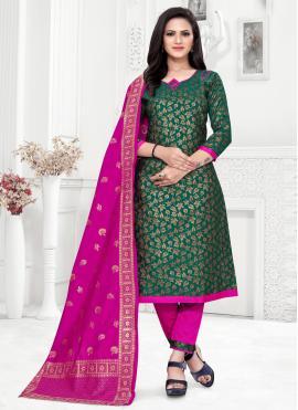 Beckoning Weaving Banarasi Silk Green Churidar Suit