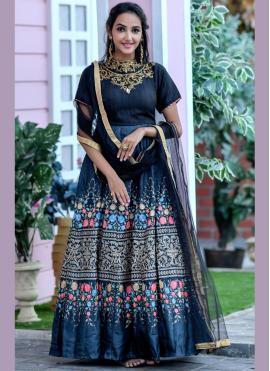 Bedazzling Black Embroidered Chanderi Floor Length Anarkali Suit