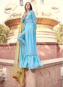Bedazzling Fancy Faux Crepe Designer Pakistani Salwar Suit
