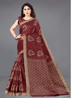 Beige and Maroon Printed Khadi Silk Traditional Saree