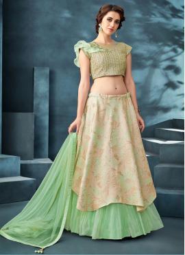 Beige and Sea Green Color Designer A Line Lehenga Choli