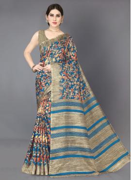 Beige and Turquoise Color Classic Designer Saree