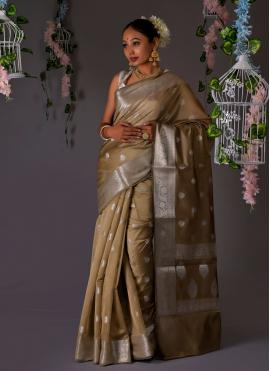 Beige Banarasi Silk Designer Traditional Saree