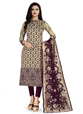 Beige Banarasi Silk Weaving Churidar Salwar Suit