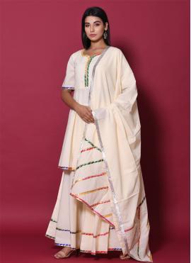 Beige Cotton Party Readymade Salwar Kameez