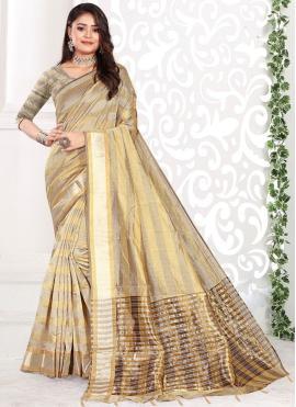 Beige Cotton Weaving Classic Saree