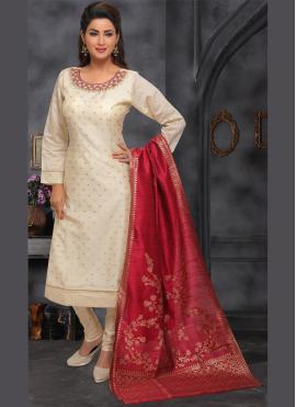 Beige Embroidered Ceremonial Designer Salwar Kameez