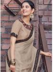 Beige Embroidered Ceremonial Designer Saree - 1