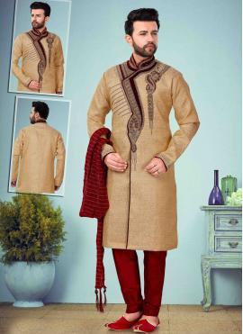 Beige Embroidered Indo Western