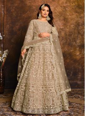 Beige Embroidered Net Floor Length Anarkali Suit