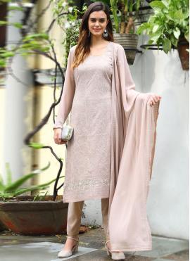 Beige Festival Faux Georgette Designer Straight Salwar Suit