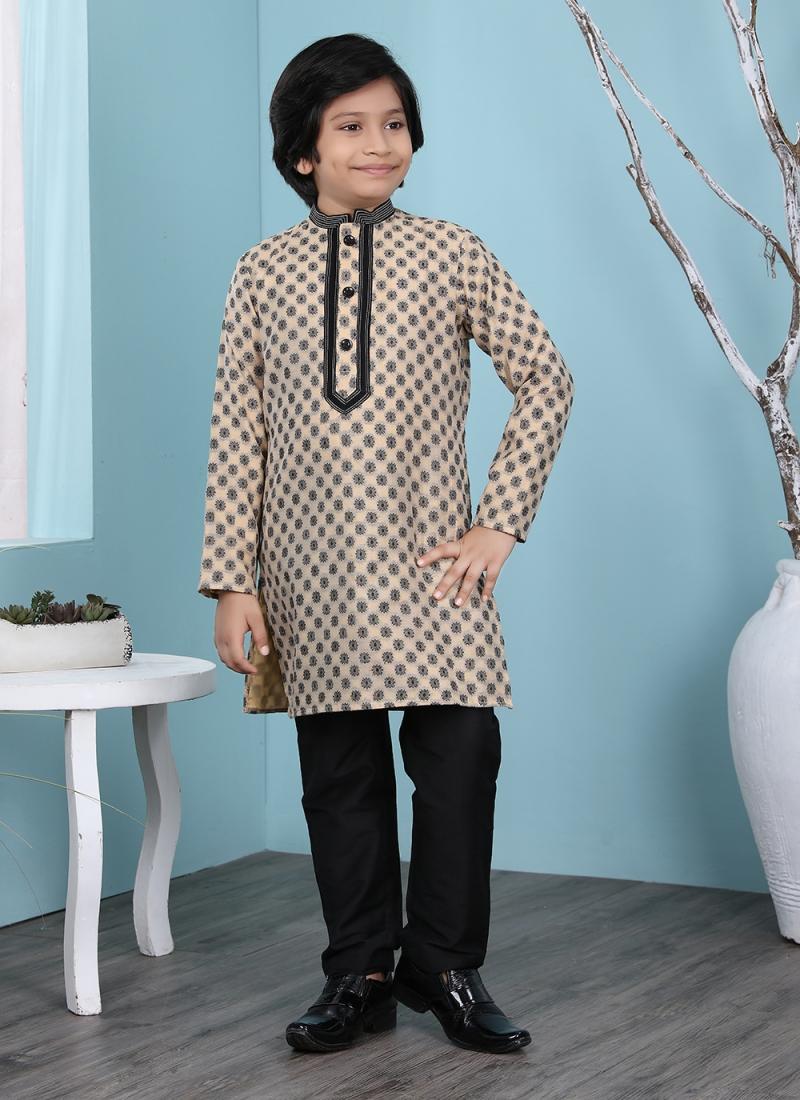 Beige Handloom Cotton Festival Kurta Pyjama