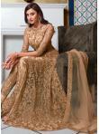 Beige Net Embroidered Floor Length Anarkali Suit - 1
