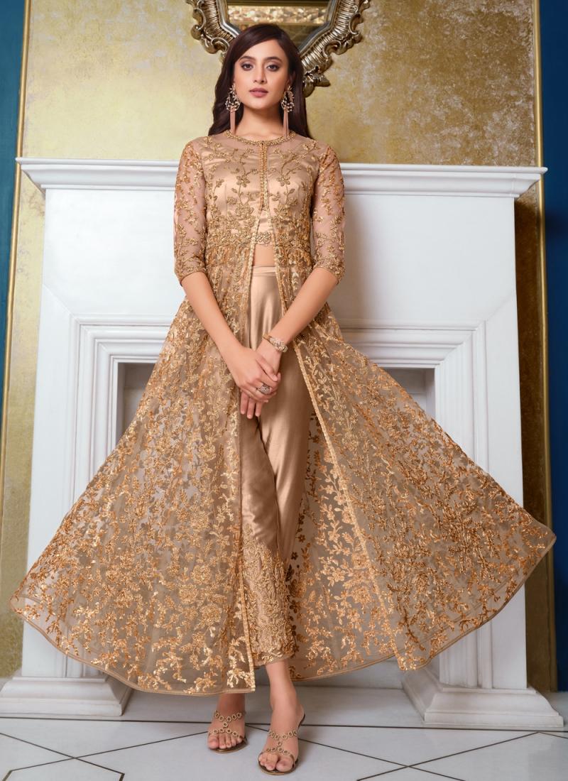 Beige Net Embroidered Floor Length Anarkali Suit