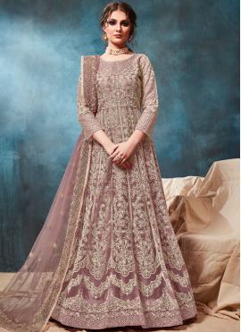 Beige Party Net Anarkali Salwar Suit