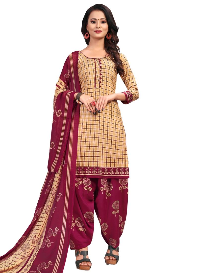 Beige Printed Fancy Fabric Patiala Suit