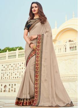 Beige Silk Engagement Designer Saree
