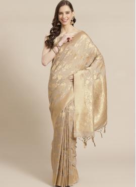 Beige Weaving Festival Traditional Designer Saree