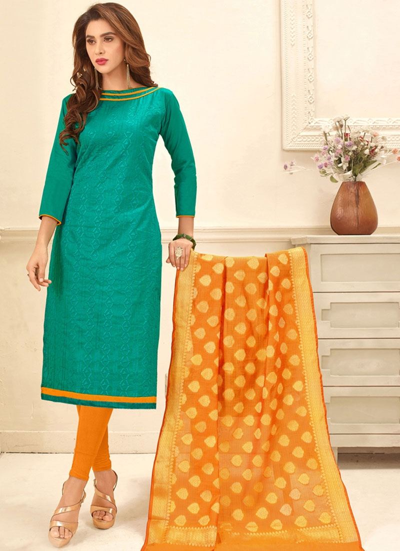 Bengal Cotton Embroidered Sea Green Churidar Suit