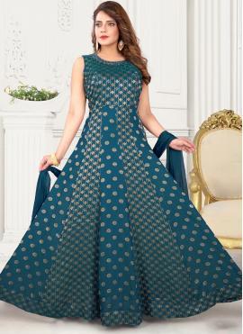 Best Art Silk Fancy Teal Floor Length Anarkali Suit