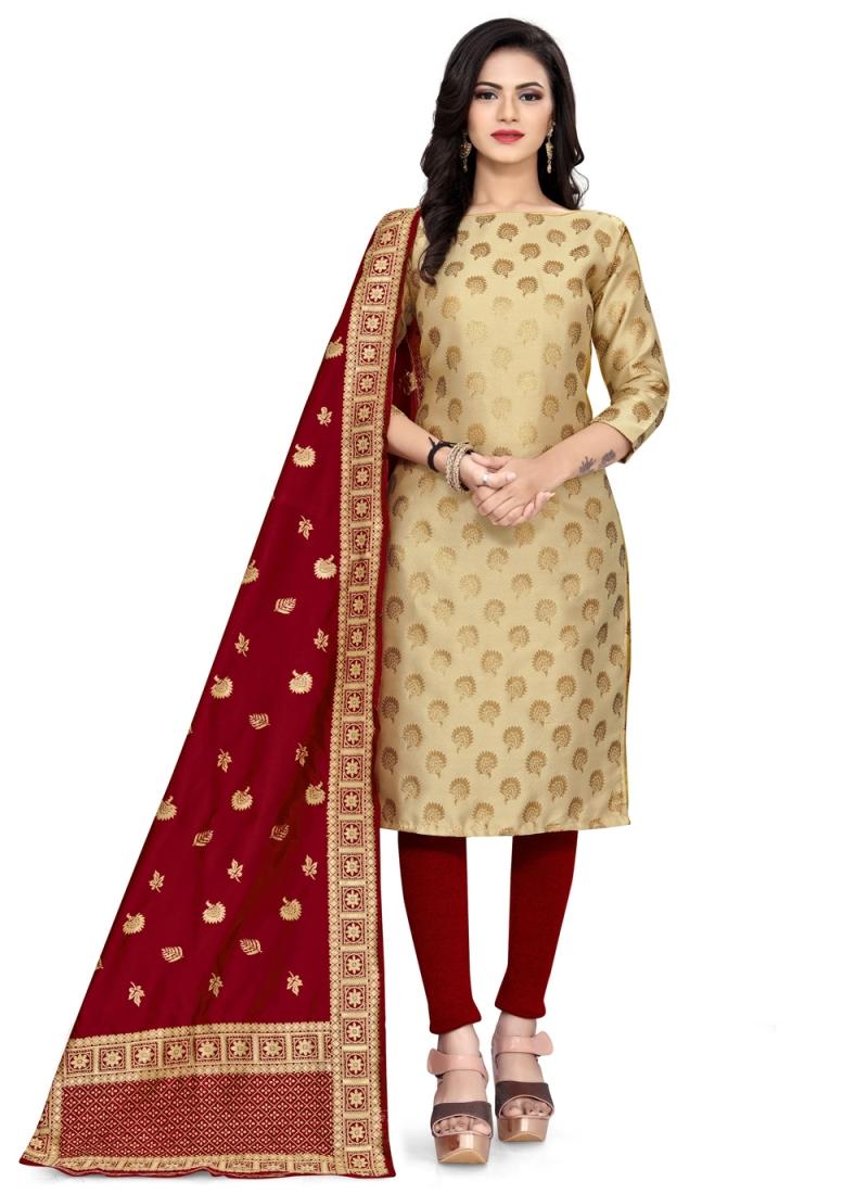 Best Banarasi Silk Beige Weaving Churidar Salwar Suit