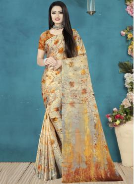 Best Brown Satin Silk Traditional Saree