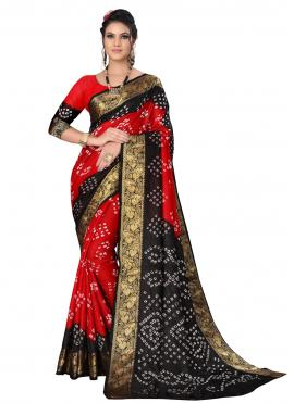 Black and Red Art Silk Traditional Designer Saree